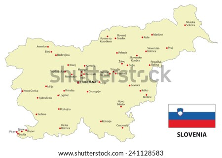 slovenia map with flag - stock vector