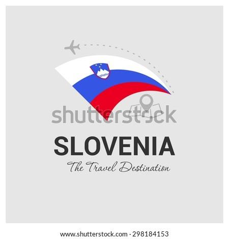Slovenia The Travel Destination logo - Vector travel company logo design - Country Flag Travel and Tourism concept t shirt graphics - vector illustration - stock vector