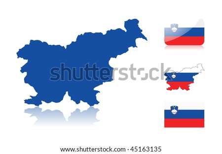 Slovenian map including: map with reflection, map in flag colors, glossy and normal flag. - stock vector