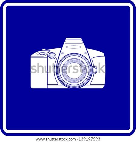 SLR camera sign - stock vector