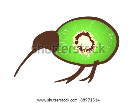 Small black kiwi bird wit body formed by kiwi fruit, flightless bird, symbol of New Zealand - stock vector