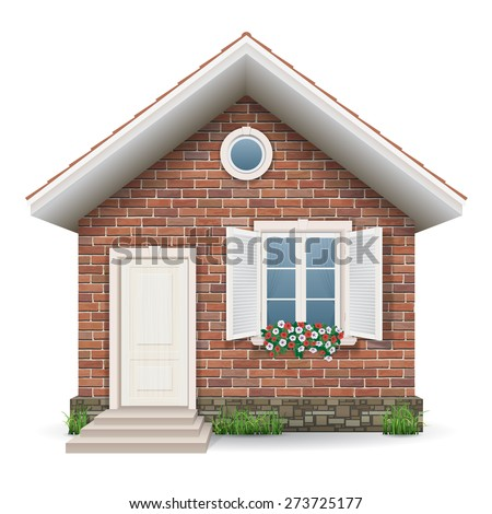 Small brick residential house with a window, door, grass and flower pots. - stock vector