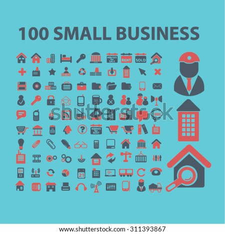small business, office suppliers, real estate concept icons, signs set, vector - stock vector
