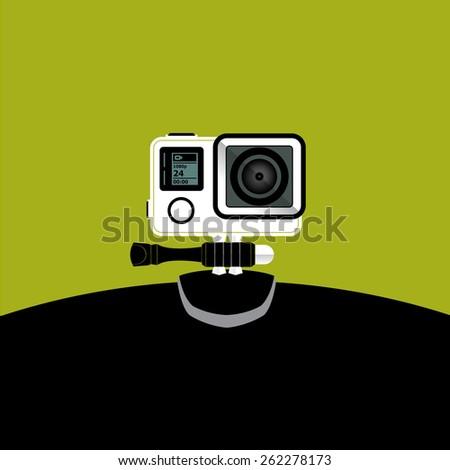 small camera and video record illustration, vector - stock vector