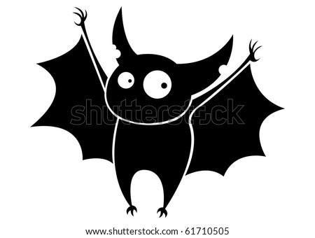 Small funny flying cartoon bat. - stock vector