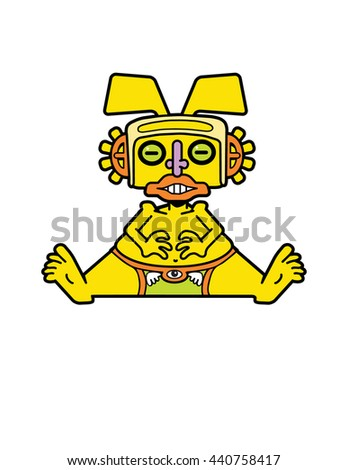Small golden idol, inspired by pre-Columbian native Columbian art. - stock vector