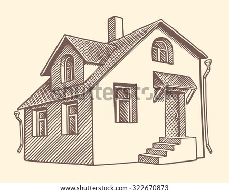 Small house. Hand drawn engraving. Vector vintage illustration. 8 EPS - stock vector