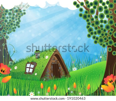 Small  house with a sod roof on a meadow with blooming tulips - stock vector