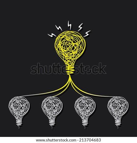 small idea make big idea or every bulb connect to small bulb concept vector - stock vector