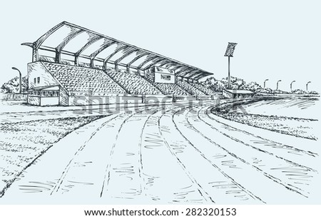 Small local modern village empty ballpark with spotlight, fan bleacher and canopy roof of sun or rain. Vector freehand ink drawn sketch in art doodle style. Panoramic view with space for text on sky - stock vector