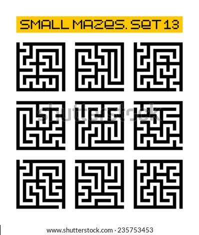 small mazes set 13 - stock vector