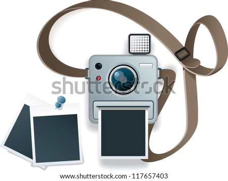 small pocket photocamera illustration - stock vector
