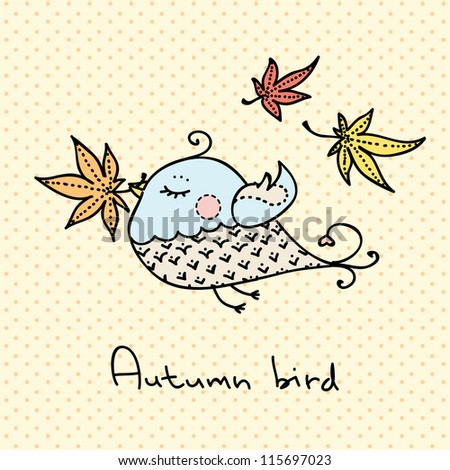 Small proud bird with autumn leaf in its beak - stock vector