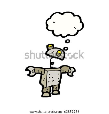 small robot thinking cartoon - stock vector