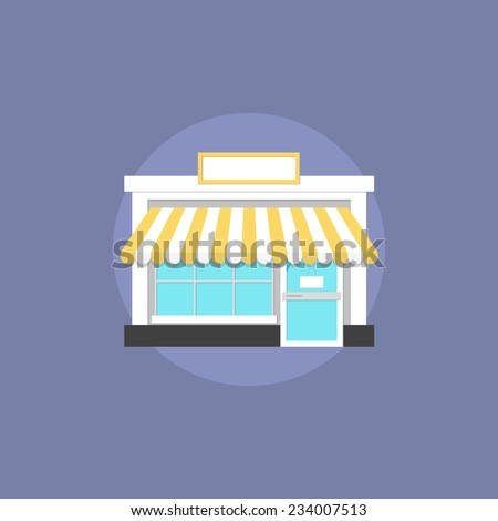Small shop facade architecture, commercial building for shopping, local house for trading goods. Flat icon modern design style vector illustration concept. - stock vector