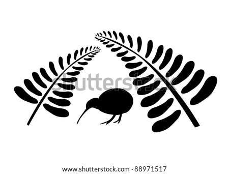 Small silhouette of a kiwi bird staying under two black ferns, symbol of New Zealand - stock vector
