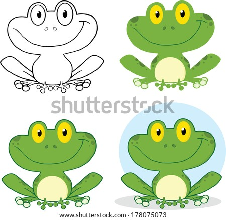 Small Smiling Frog Cartoon Character. Set Vector Collection - stock vector