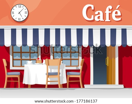 Small street cafe with striped awning, with table and chairs, cups, plates, cake and coffee - stock vector