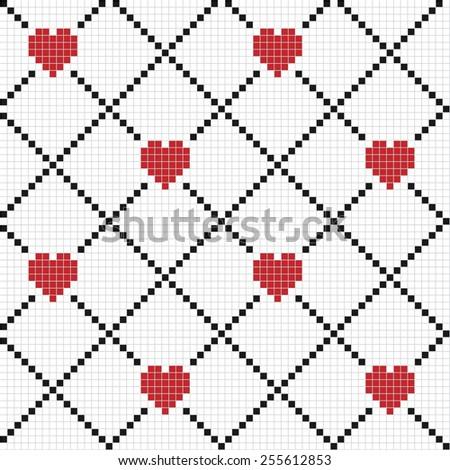 Small tiles hearts vector. - stock vector