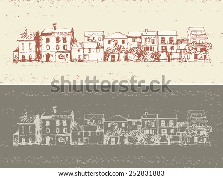 small town buildings facade arranged in line, hand drawn illustration - stock vector