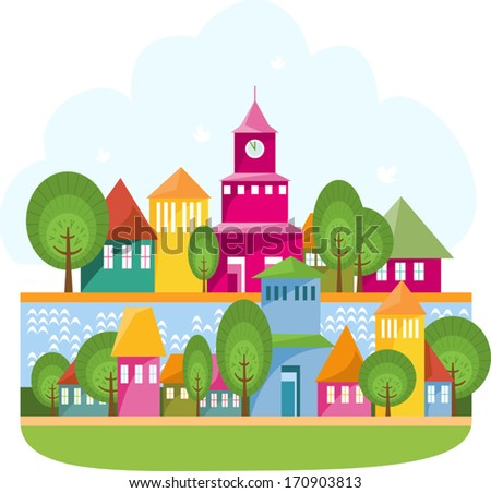 Small town on the river. Cartoon illustration of small town staying along river. Vector elements are grouped and layered for easy to edit. - stock vector
