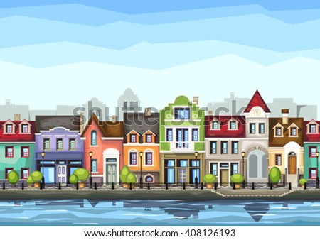 Small town street with .Vector illustration of stylized colorful city landscape.Old town . - stock vector