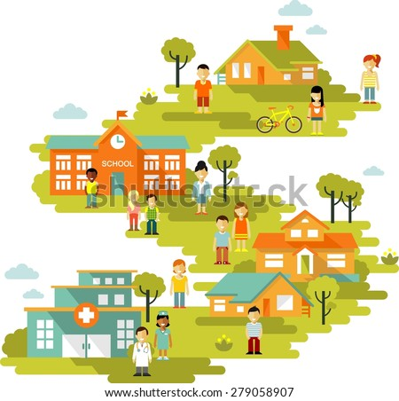 Small town urban cityscape background with buildings and people in flat style - stock vector