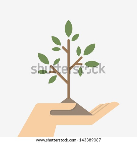 Small tree in a hand - stock vector
