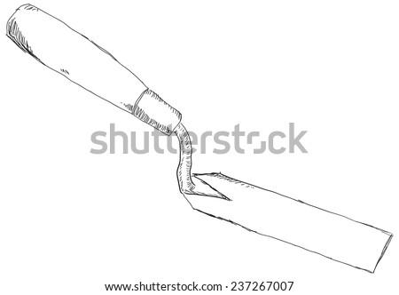Small trowel for archeology and treasure hunters. Vector illustration. - stock vector