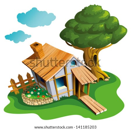 Small village house with flower-bed and big tree, vector illustration - stock vector