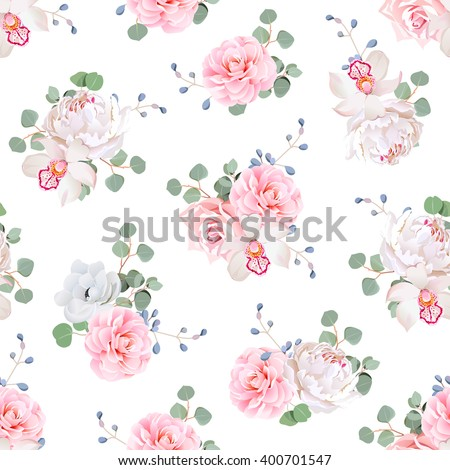 Small wedding bouquets of rose, peony, camellia, orchid, anemone, camellia, blue berries and eucaliptis leaves. Seamless vector print on white background. - stock vector