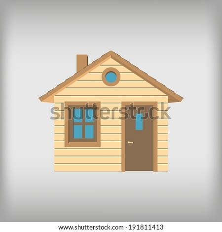 Small wooden house, front view - stock vector