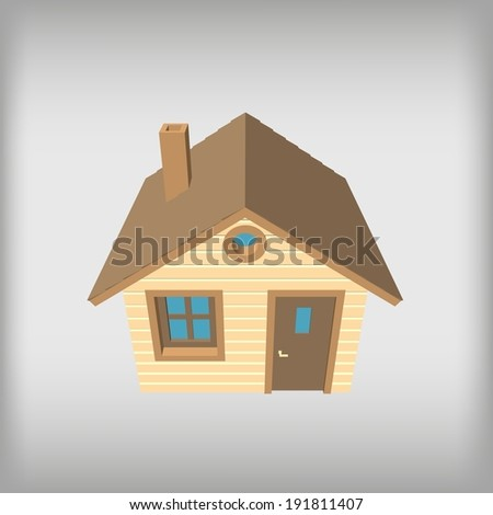Small wooden house, top view - stock vector