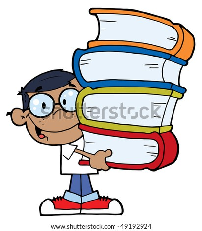 Smart African American School Boy Carrying A Stack Of Books - stock vector