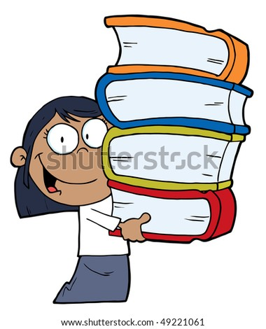 Smart African American School Girl Carrying A Stack Of Books - stock vector