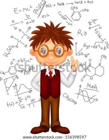 Smart boy cartoon - stock vector