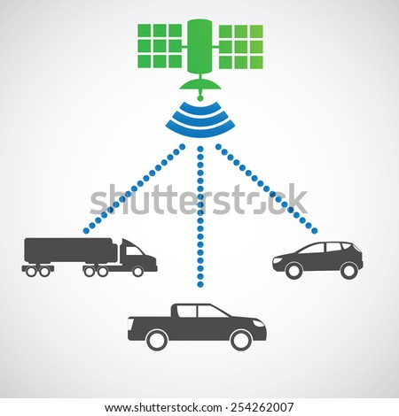 Smart car system with wireless connectivity satellite Connected Car. - stock vector