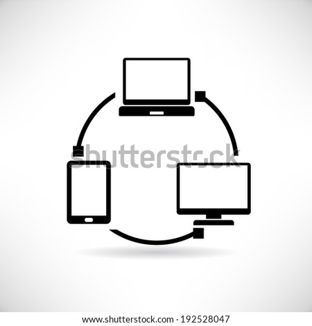 smart device synchronize, devices connecting - stock vector