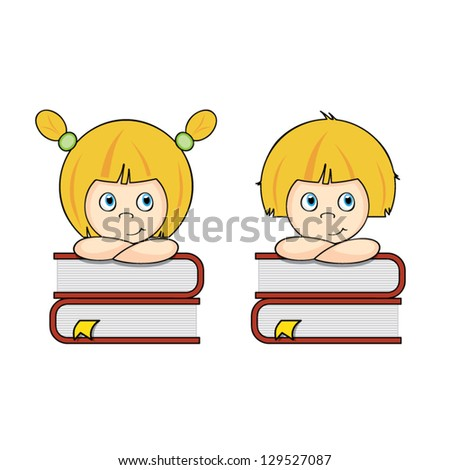 Smart girl and boy students thinking on a pile of books, education concept, vector illustration - stock vector