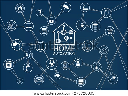 Smart home automation vector background. Connected smart home devices like phone, smart watch, tablet, sensors, appliances. Network of connected devices with flat design. - stock vector