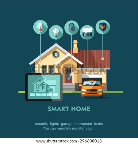 Smart home. Flat design style vector illustration concept of smart house technology system with centralized control. - stock vector