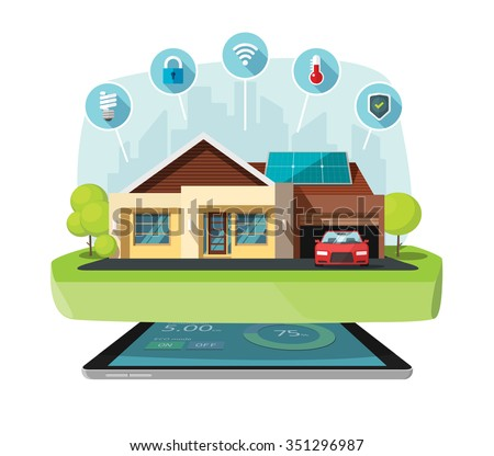 Smart home modern future house vector illustration flat, lighting, heating, air conditioning, saving energy efficiency, security safety, sun solar module power control technology centralized systems - stock vector