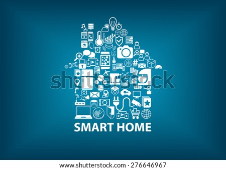 Smart Home vector illustration with home assembled with white icons / symbols. Blurred dark blue background - stock vector