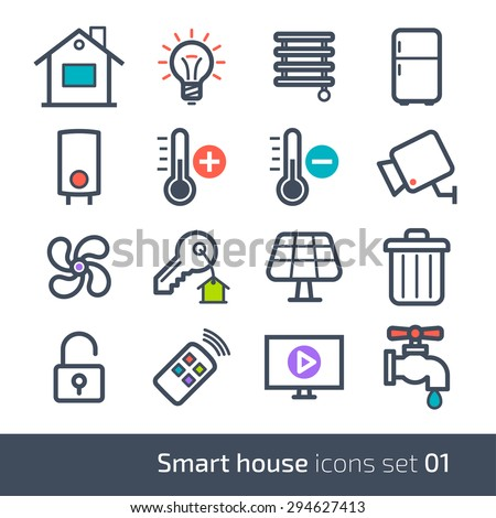 Smart house technology system icons with control of lighting, heating, ventilation and air conditioning, security and video surveillance // 01 - stock vector