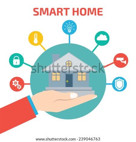 Smart house technology. Vector illustration concept - stock vector