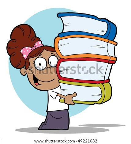 Smart Latina School Girl Carrying A Stack Of Books - stock vector