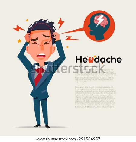 smart man get headache - healthcare and migraine concept - vector illustration - stock vector