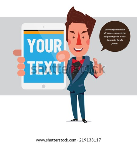 smart man with tablet - vector illustration - stock vector
