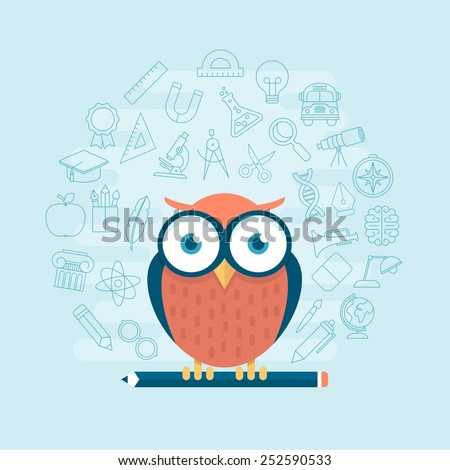 smart owl standing on pencil surrounded by thin line education themed icons, vector illustration - stock vector