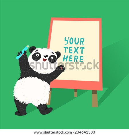 Smart panda doing a presentation with pencil and flip chart. Vector colorful illustration in flat design style - stock vector